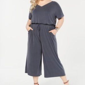 Style & Co Womens Gray Cropped Jumpsuit Size Petit